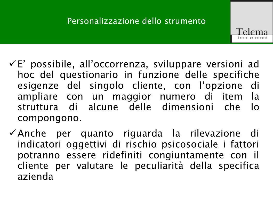 R. G. Zuffo, M. Barattucci Valutazione Rischio Stress-lavoro correlato E possibile, alloccorrenza, sviluppare versioni ad hoc del questionario in funz