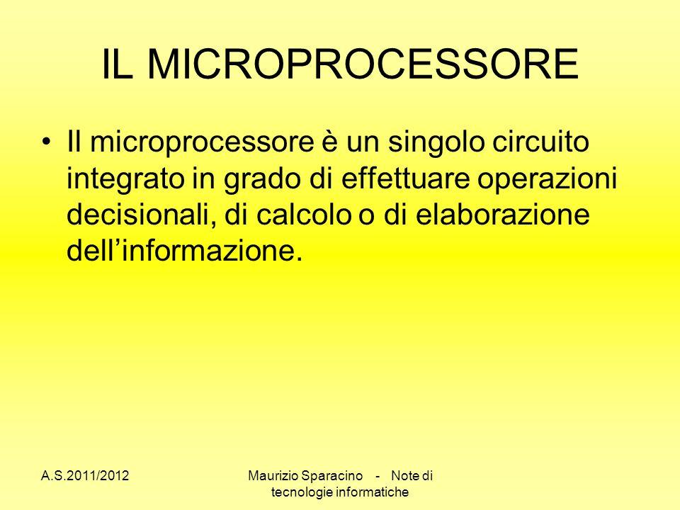 A.S.2011/2012Maurizio Sparacino - Note di tecnologie informatiche IL MICROPROCESSORE Il microprocessore è un singolo circuito integrato in grado di effettuare operazioni decisionali, di calcolo o di elaborazione dellinformazione.