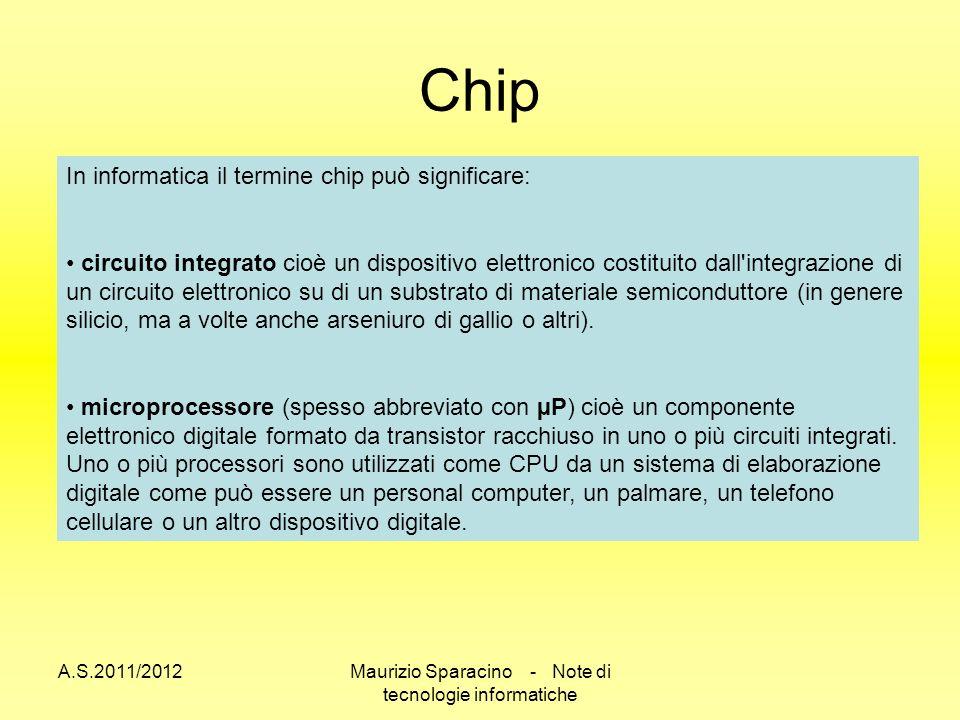 A.S.2011/2012Maurizio Sparacino - Note di tecnologie informatiche Chip In informatica il termine chip può significare: circuito integrato cioè un dispositivo elettronico costituito dall integrazione di un circuito elettronico su di un substrato di materiale semiconduttore (in genere silicio, ma a volte anche arseniuro di gallio o altri).