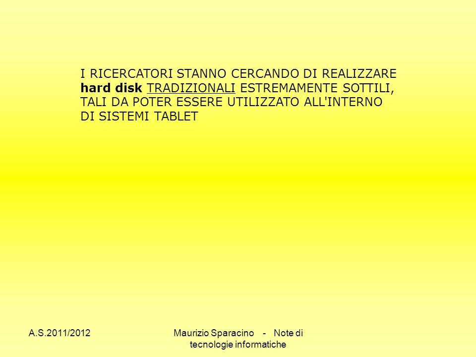 A.S.2011/2012Maurizio Sparacino - Note di tecnologie informatiche I RICERCATORI STANNO CERCANDO DI REALIZZARE hard disk TRADIZIONALI ESTREMAMENTE SOTTILI, TALI DA POTER ESSERE UTILIZZATO ALL INTERNO DI SISTEMI TABLET