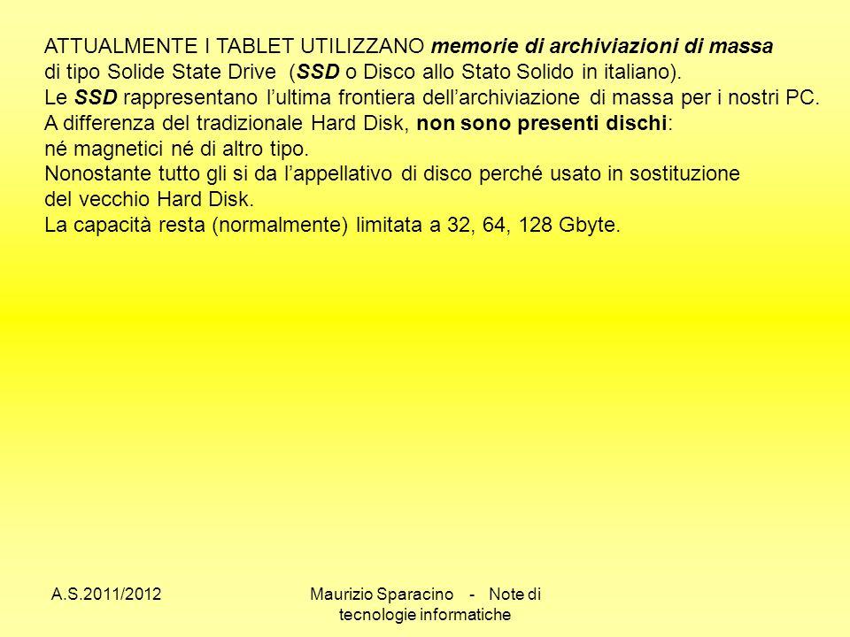 A.S.2011/2012Maurizio Sparacino - Note di tecnologie informatiche ATTUALMENTE I TABLET UTILIZZANO memorie di archiviazioni di massa di tipo Solide State Drive (SSD o Disco allo Stato Solido in italiano).