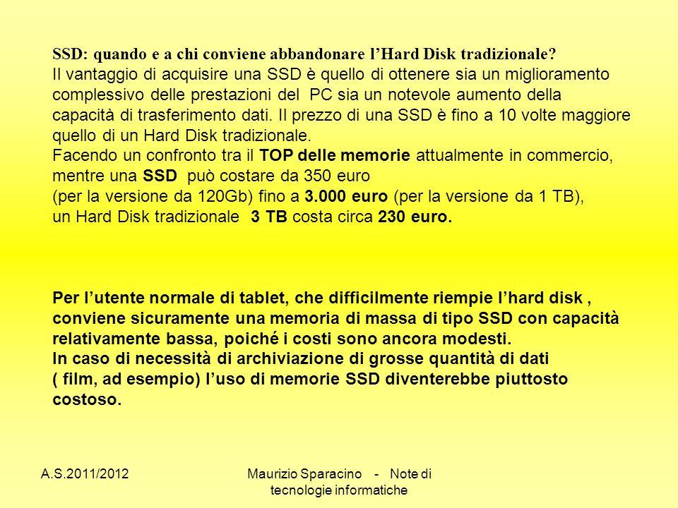 A.S.2011/2012Maurizio Sparacino - Note di tecnologie informatiche SSD: quando e a chi conviene abbandonare lHard Disk tradizionale.