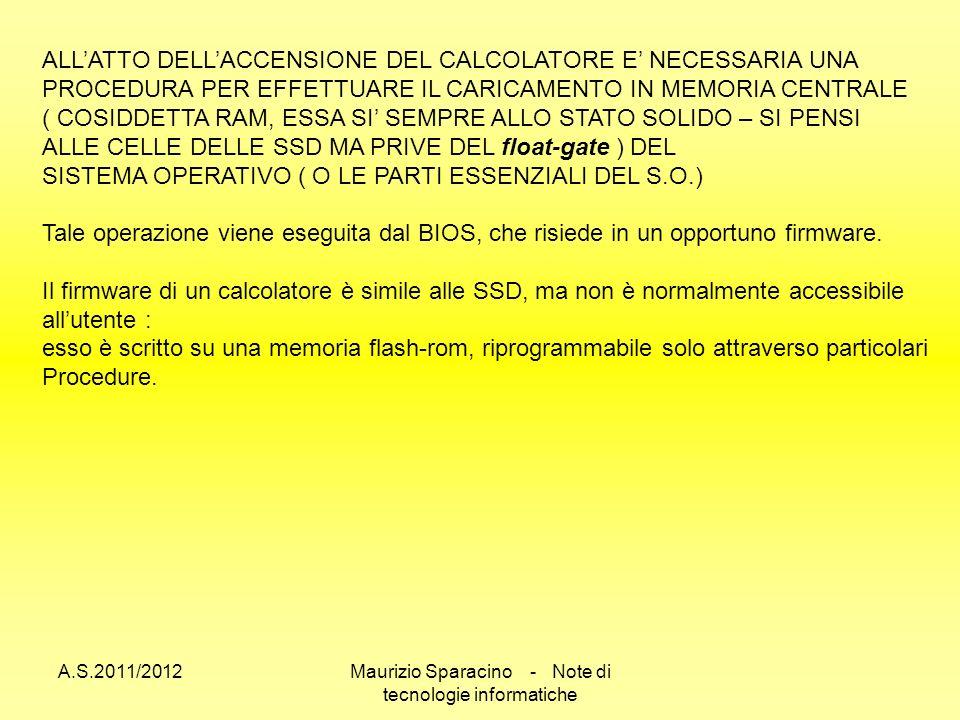 A.S.2011/2012Maurizio Sparacino - Note di tecnologie informatiche ALLATTO DELLACCENSIONE DEL CALCOLATORE E NECESSARIA UNA PROCEDURA PER EFFETTUARE IL CARICAMENTO IN MEMORIA CENTRALE ( COSIDDETTA RAM, ESSA SI SEMPRE ALLO STATO SOLIDO – SI PENSI ALLE CELLE DELLE SSD MA PRIVE DEL float-gate ) DEL SISTEMA OPERATIVO ( O LE PARTI ESSENZIALI DEL S.O.) Tale operazione viene eseguita dal BIOS, che risiede in un opportuno firmware.
