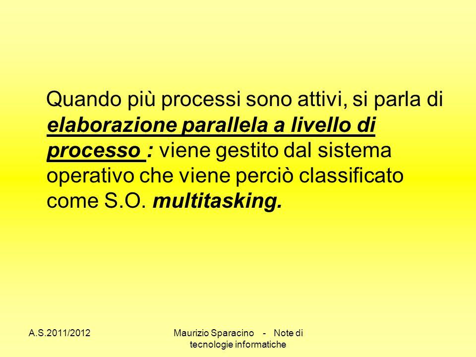 A.S.2011/2012Maurizio Sparacino - Note di tecnologie informatiche Quando più processi sono attivi, si parla di elaborazione parallela a livello di processo : viene gestito dal sistema operativo che viene perciò classificato come S.O.