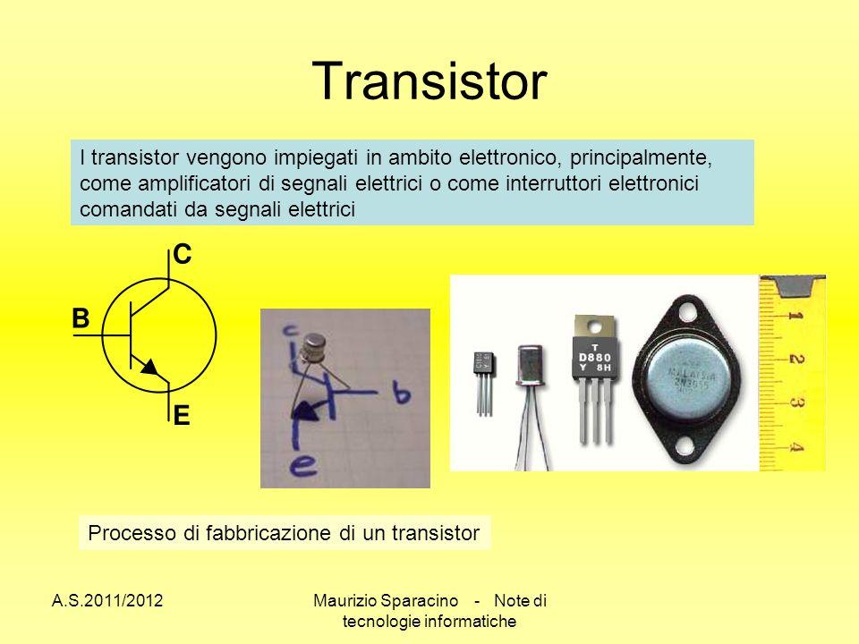A.S.2011/2012Maurizio Sparacino - Note di tecnologie informatiche Transistor I transistor vengono impiegati in ambito elettronico, principalmente, come amplificatori di segnali elettrici o come interruttori elettronici comandati da segnali elettrici Processo di fabbricazione di un transistor