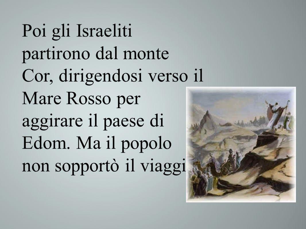 Nr. 21, 4-9 Poi gli Israeliti partirono dal monte Cor, dirigendosi verso il Mare Rosso per aggirare il paese di Edom. Ma il popolo non sopportò il via