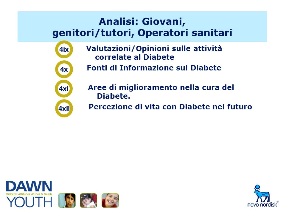 Analisi: Giovani, genitori/tutori, Operatori sanitari Valutazioni/Opinioni sulle attività correlate al Diabete Fonti di Informazione sul Diabete Aree di miglioramento nella cura del Diabete.