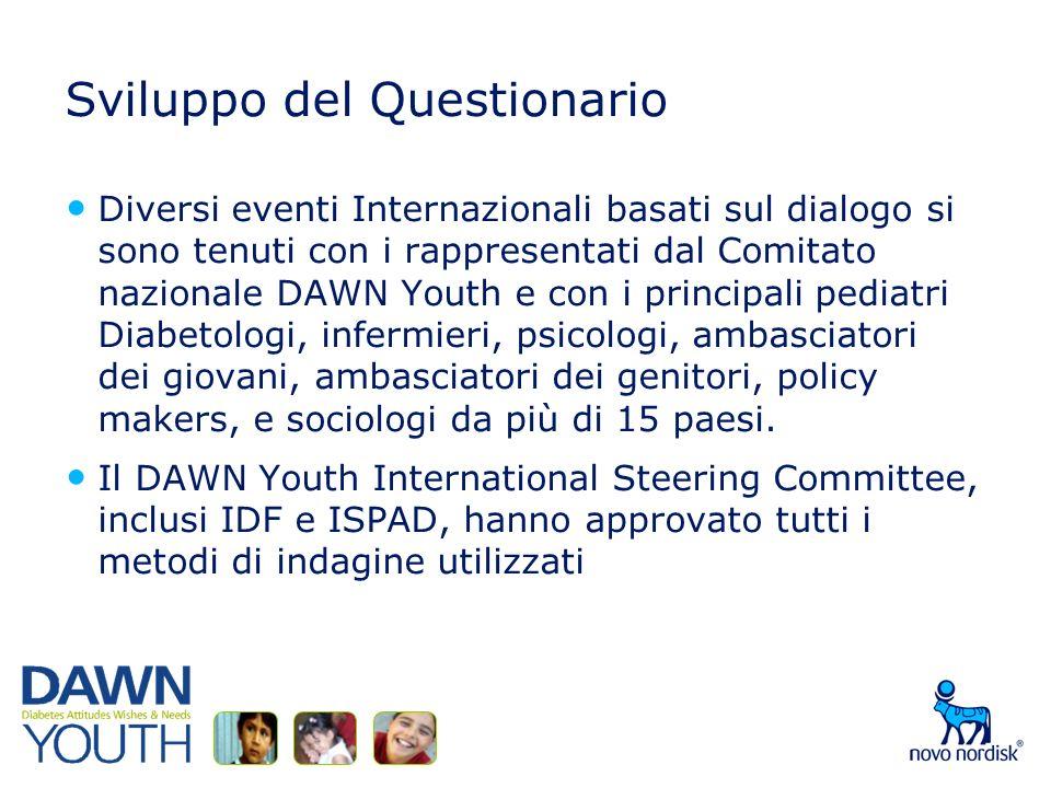 Sviluppo del Questionario Diversi eventi Internazionali basati sul dialogo si sono tenuti con i rappresentati dal Comitato nazionale DAWN Youth e con i principali pediatri Diabetologi, infermieri, psicologi, ambasciatori dei giovani, ambasciatori dei genitori, policy makers, e sociologi da più di 15 paesi.