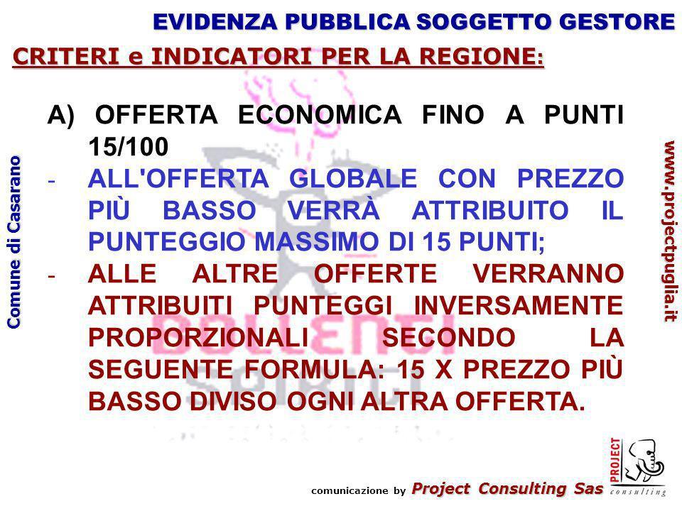 Project Consulting Sas comunicazione by Project Consulting Sas www.projectpuglia.it Comune di Casarano EVIDENZA PUBBLICA SOGGETTO GESTORE CRITERI e INDICATORI PER LA REGIONE : A) OFFERTA ECONOMICA FINO A PUNTI 15/100 - ALL OFFERTA GLOBALE CON PREZZO PIÙ BASSO VERRÀ ATTRIBUITO IL PUNTEGGIO MASSIMO DI 15 PUNTI; - ALLE ALTRE OFFERTE VERRANNO ATTRIBUITI PUNTEGGI INVERSAMENTE PROPORZIONALI SECONDO LA SEGUENTE FORMULA: 15 X PREZZO PIÙ BASSO DIVISO OGNI ALTRA OFFERTA.