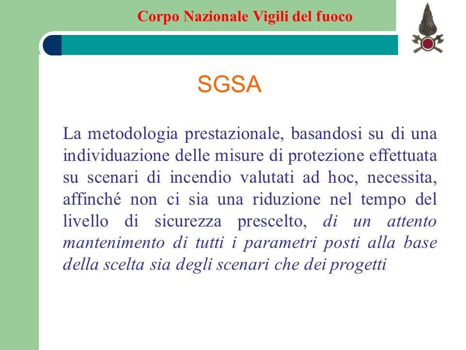 Corpo Nazionale Vigili del fuoco SGSA La metodologia prestazionale, basandosi su di una individuazione delle misure di protezione effettuata su scenar