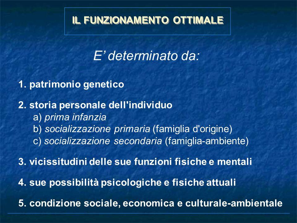 1.patrimonio genetico 2.storia personale dell'individuo a) prima infanzia b) socializzazione primaria (famiglia d'origine) c) socializzazione secondar