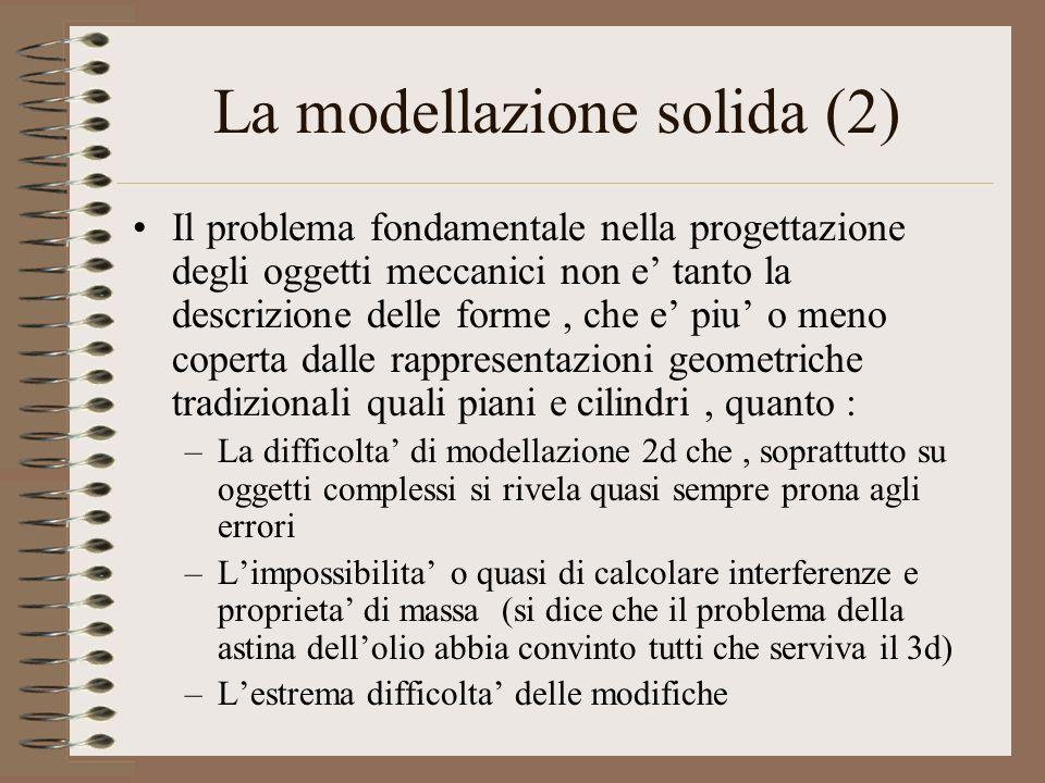 La modellazione solida (2) Il problema fondamentale nella progettazione degli oggetti meccanici non e tanto la descrizione delle forme, che e piu o me