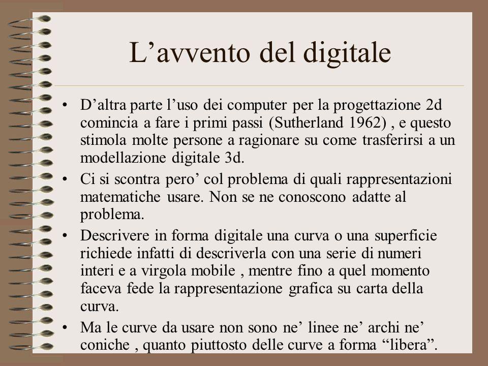 Lavvento del digitale Daltra parte luso dei computer per la progettazione 2d comincia a fare i primi passi (Sutherland 1962), e questo stimola molte p