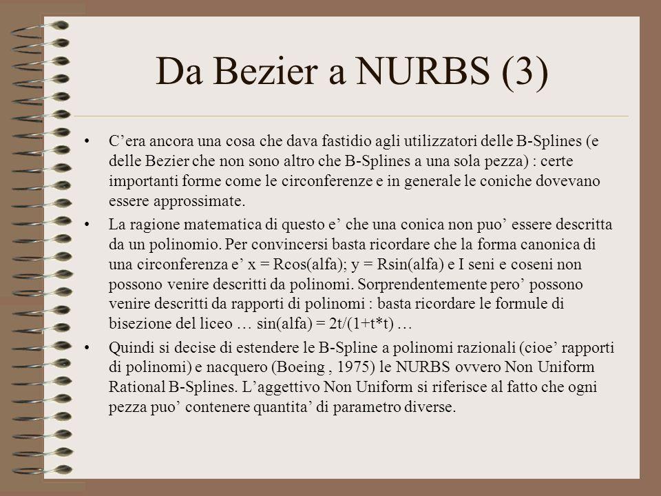 Da Bezier a NURBS (3) Cera ancora una cosa che dava fastidio agli utilizzatori delle B-Splines (e delle Bezier che non sono altro che B-Splines a una