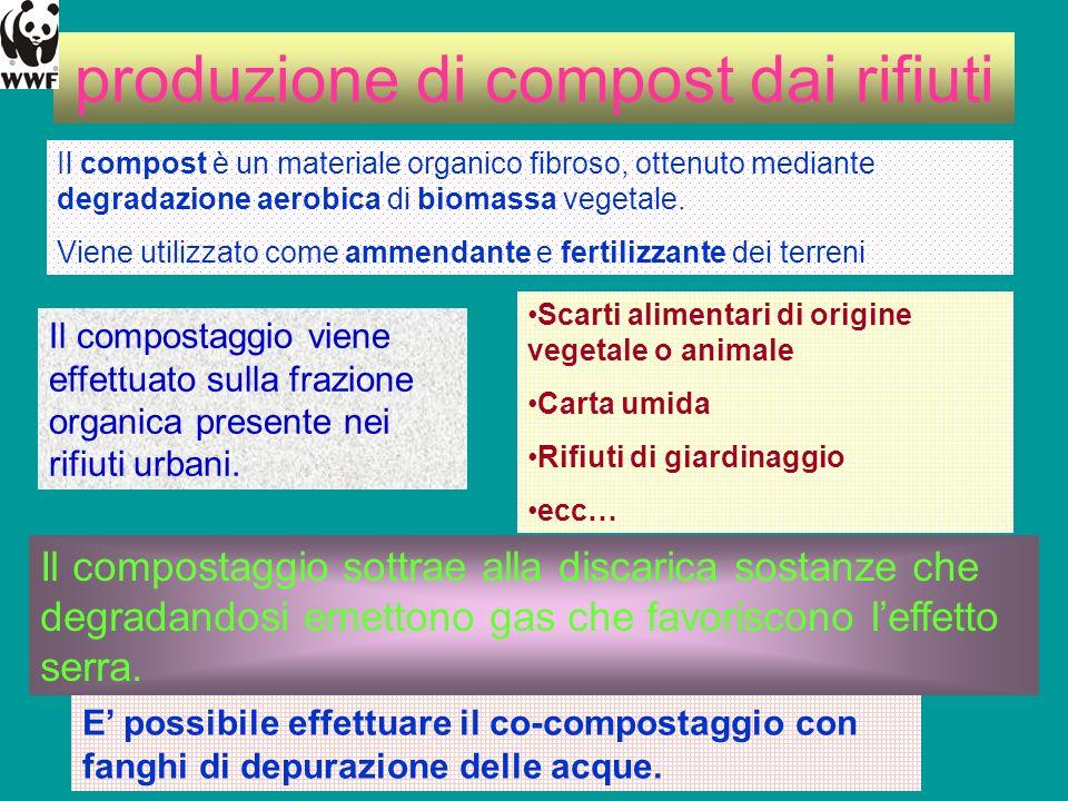 produzione di compost dai rifiuti Il compost è un materiale organico fibroso, ottenuto mediante degradazione aerobica di biomassa vegetale. Viene util