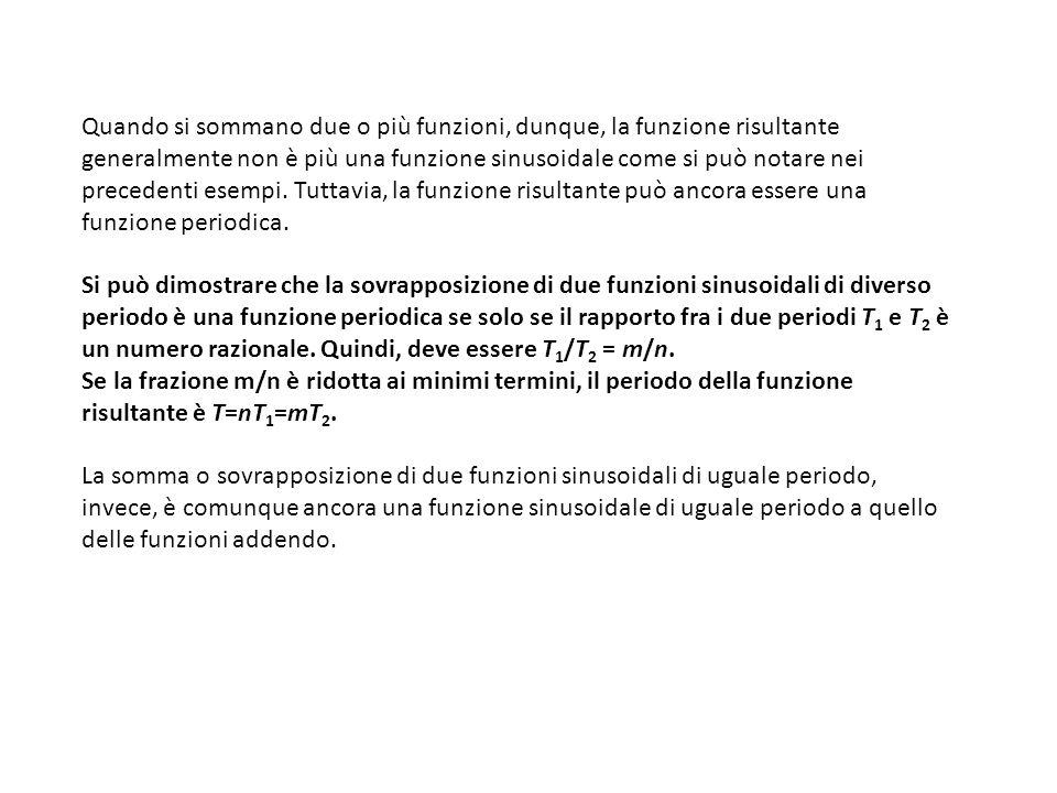 Quando si sommano due o più funzioni, dunque, la funzione risultante generalmente non è più una funzione sinusoidale come si può notare nei precedenti