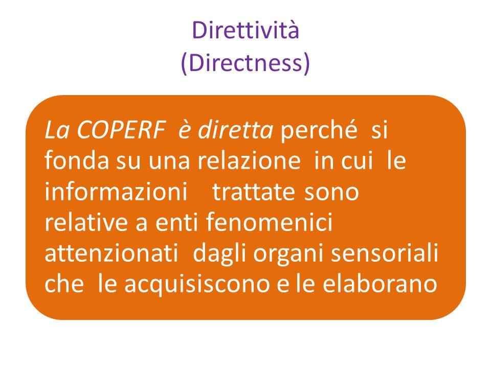 Direttività (Directness) La COPERF è diretta perché si fonda su una relazione in cui le informazioni trattate sono relative a enti fenomenici attenzionati dagli organi sensoriali che le acquisiscono e le elaborano