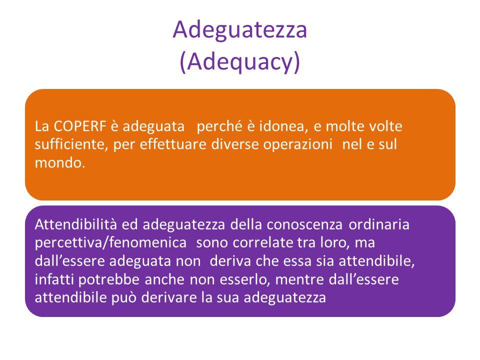 Adeguatezza (Adequacy) La COPERF è adeguata perché è idonea, e molte volte sufficiente, per effettuare diverse operazioni nel e sul mondo.