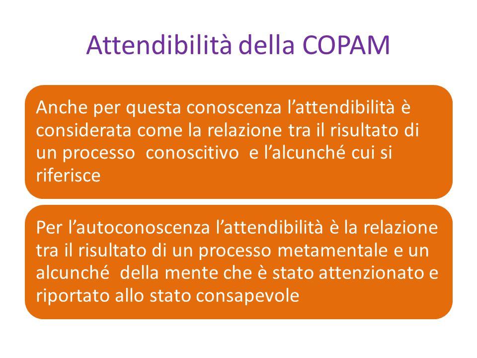 Attendibilità della COPAM Anche per questa conoscenza lattendibilità è considerata come la relazione tra il risultato di un processo conoscitivo e lalcunché cui si riferisce Per lautoconoscenza lattendibilità è la relazione tra il risultato di un processo metamentale e un alcunché della mente che è stato attenzionato e riportato allo stato consapevole