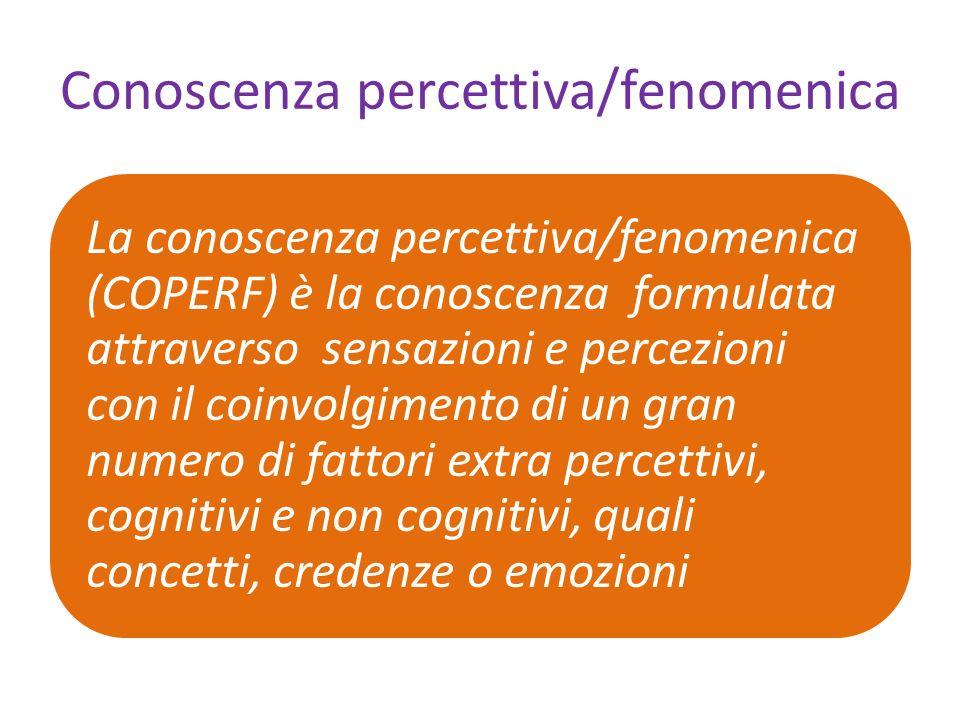 Conoscenza percettiva/fenomenica La conoscenza percettiva/fenomenica (COPERF) è la conoscenza formulata attraverso sensazioni e percezioni con il coinvolgimento di un gran numero di fattori extra percettivi, cognitivi e non cognitivi, quali concetti, credenze o emozioni