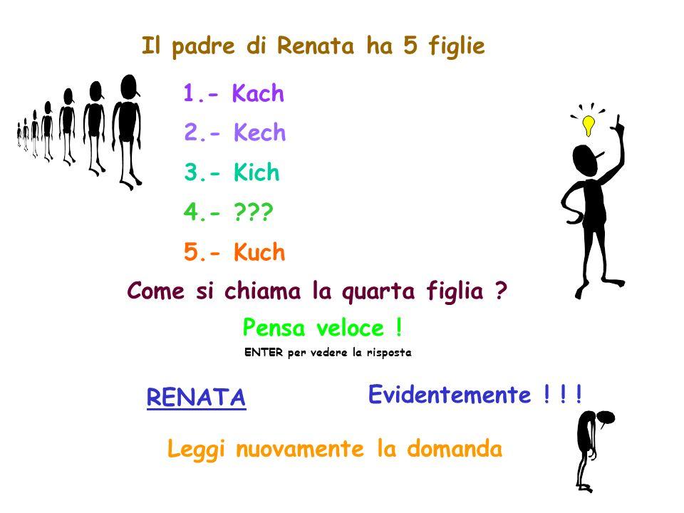 Il padre di Renata ha 5 figlie 1.- Kach 2.- Kech 3.- Kich 4.- ??.