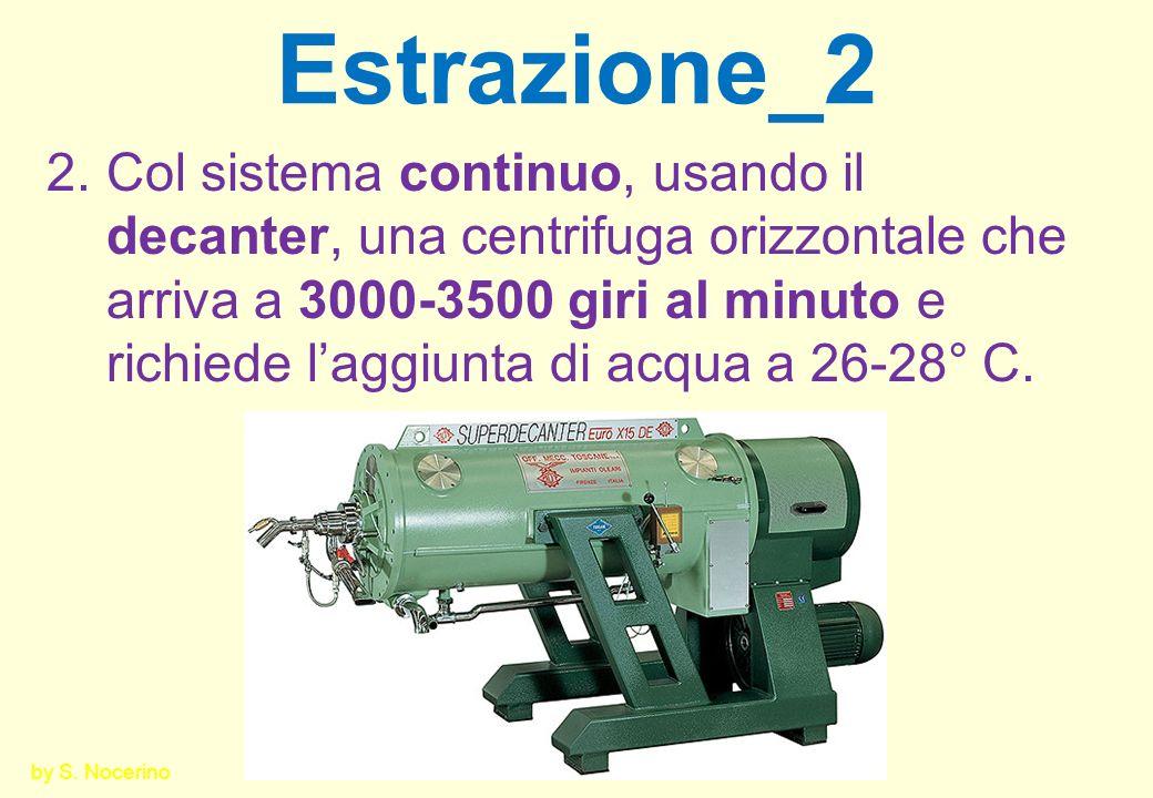 Estrazione_2 2.Col sistema continuo, usando il decanter, una centrifuga orizzontale che arriva a 3000-3500 giri al minuto e richiede laggiunta di acqu