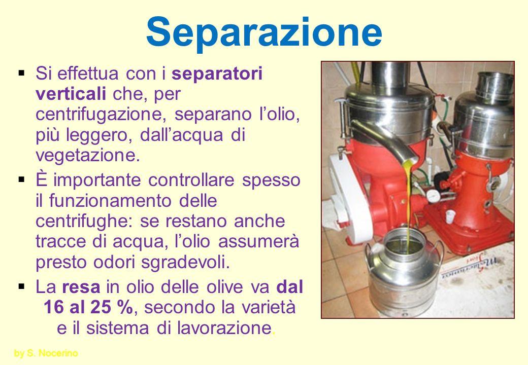 Separazione Si effettua con i separatori verticali che, per centrifugazione, separano lolio, più leggero, dallacqua di vegetazione. È importante contr