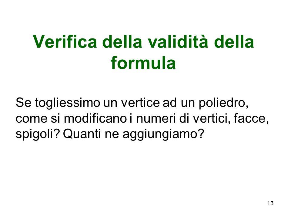 Verifica della validità della formula Se togliessimo un vertice ad un poliedro, come si modificano i numeri di vertici, facce, spigoli? Quanti ne aggi