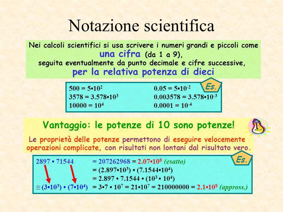 Notazione scientifica Vantaggio: le potenze di 10 sono potenze! Le proprietà delle potenze permettono di eseguire velocemente operazioni complicate, c