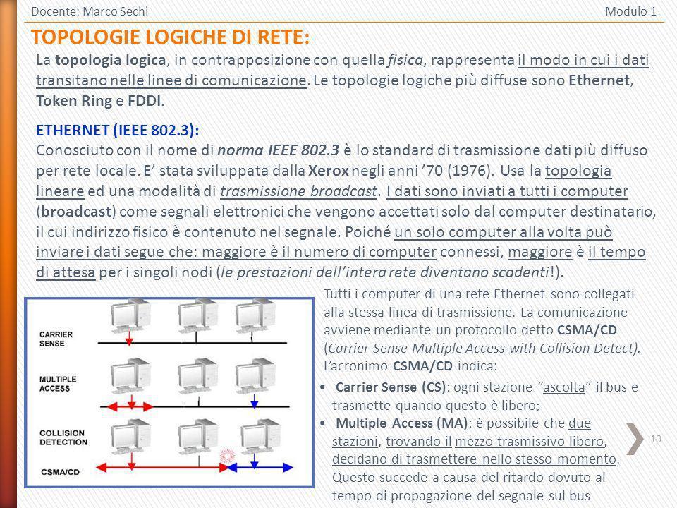 10 Docente: Marco Sechi Modulo 1 TOPOLOGIE LOGICHE DI RETE: La topologia logica, in contrapposizione con quella fisica, rappresenta il modo in cui i dati transitano nelle linee di comunicazione.