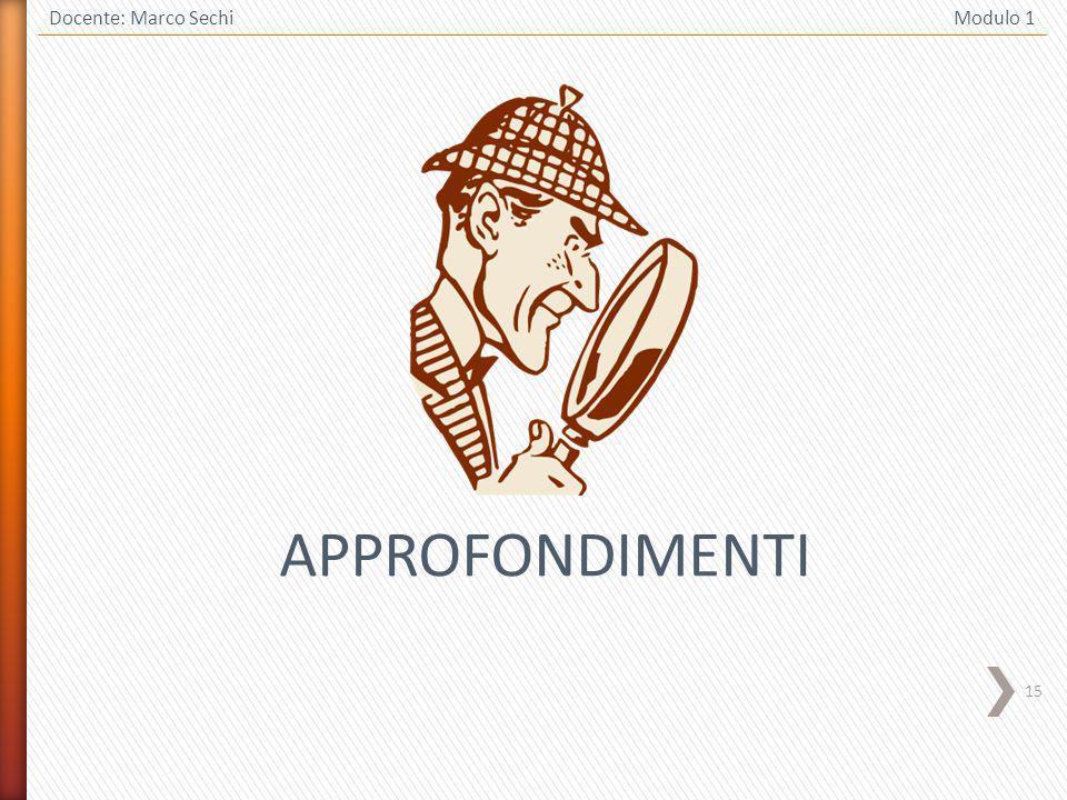 15 Docente: Marco Sechi Modulo 1 APPROFONDIMENTI