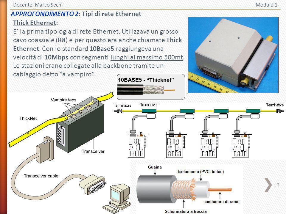 17 Docente: Marco Sechi Modulo 1 Thick Ethernet: E la prima tipologia di rete Ethernet. Utilizzava un grosso cavo coassiale (R8) e per questo era anch