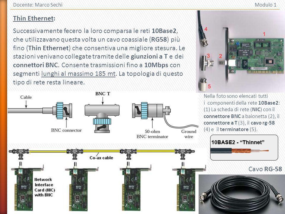 18 Docente: Marco Sechi Modulo 1 Thin Ethernet: Successivamente fecero la loro comparsa le reti 10Base2, che utilizzavano questa volta un cavo coassiale (RG58) più fino (Thin Ethernet) che consentiva una migliore stesura.