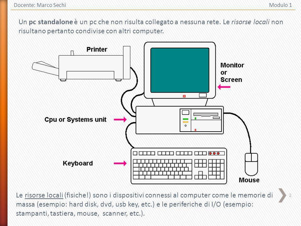 3 Docente: Marco Sechi Modulo 1 Una RETE INFORMATICA è costituita da un insieme di computer collegati tra loro ed in grado di condividere sia le risorse hardware (periferiche accessibili dai vari computer che formano la rete), che le risorse software (programmi applicativi e file archiviati nelle memorie di massa delle varie postazioni).