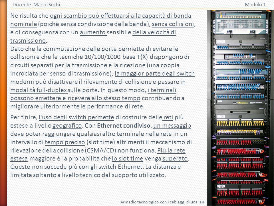 22 Docente: Marco Sechi Modulo 1 Ne risulta che ogni scambio può effettuarsi alla capacità di banda nominale (poichè senza condivisione della banda), senza collisioni, e di conseguenza con un aumento sensibile della velocità di trasmissione.