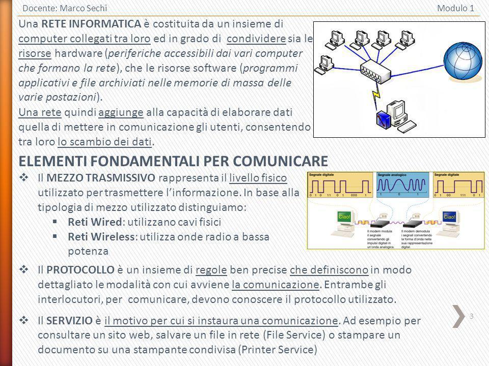 3 Docente: Marco Sechi Modulo 1 Una RETE INFORMATICA è costituita da un insieme di computer collegati tra loro ed in grado di condividere sia le risor