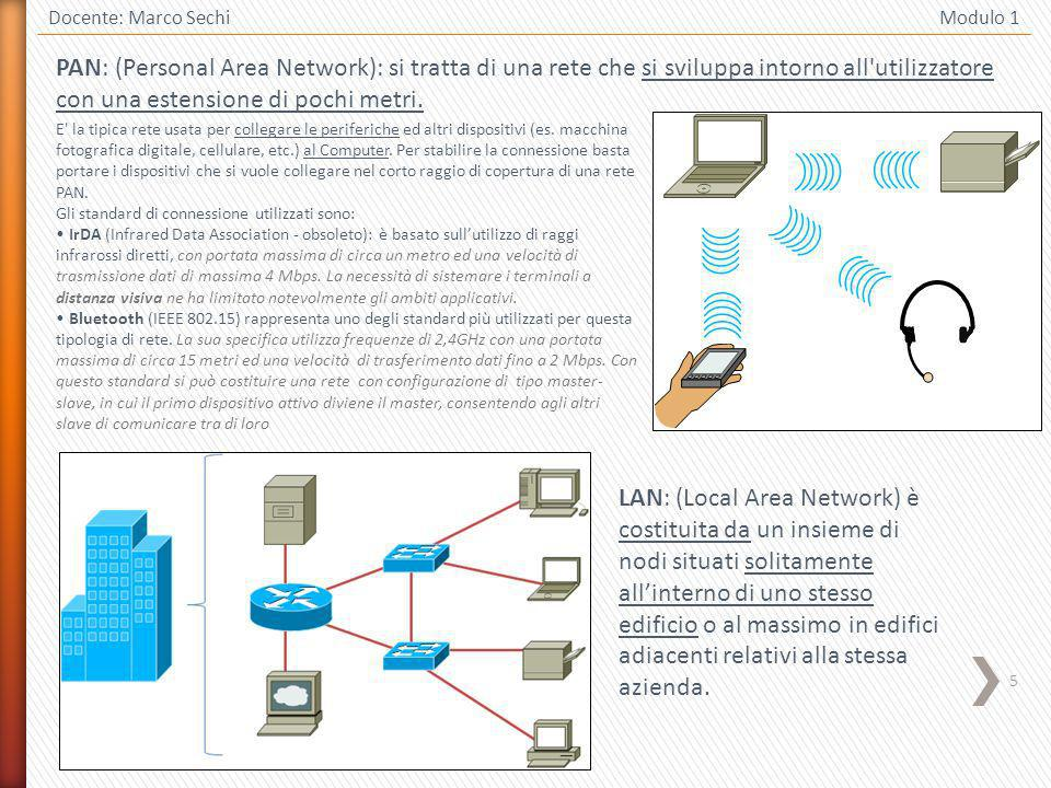 5 Docente: Marco Sechi Modulo 1 PAN: (Personal Area Network): si tratta di una rete che si sviluppa intorno all utilizzatore con una estensione di pochi metri.