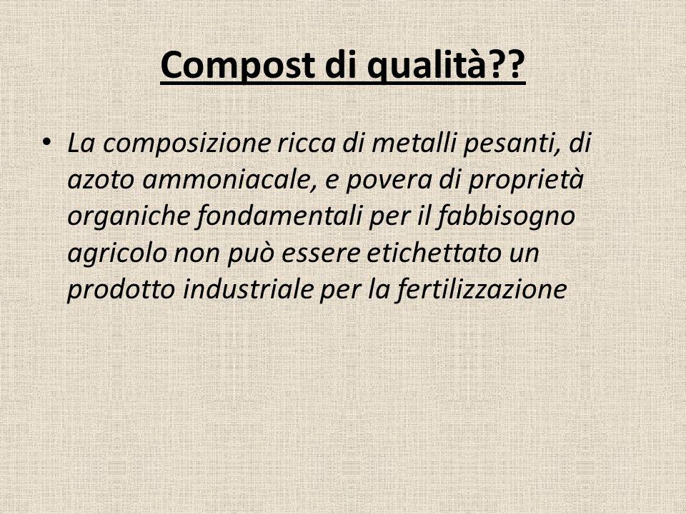 Compost di qualità?? La composizione ricca di metalli pesanti, di azoto ammoniacale, e povera di proprietà organiche fondamentali per il fabbisogno ag