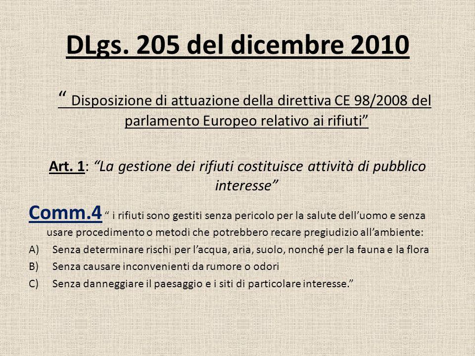 DLgs. 205 del dicembre 2010 Disposizione di attuazione della direttiva CE 98/2008 del parlamento Europeo relativo ai rifiuti Art. 1: La gestione dei r