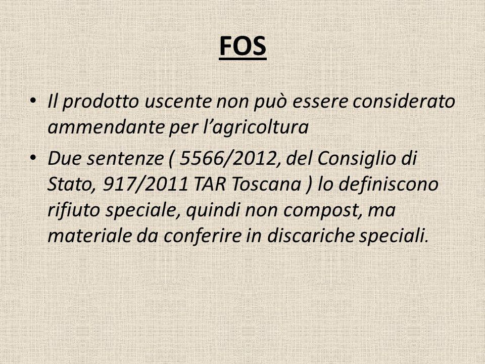 FOS Il prodotto uscente non può essere considerato ammendante per lagricoltura Due sentenze ( 5566/2012, del Consiglio di Stato, 917/2011 TAR Toscana