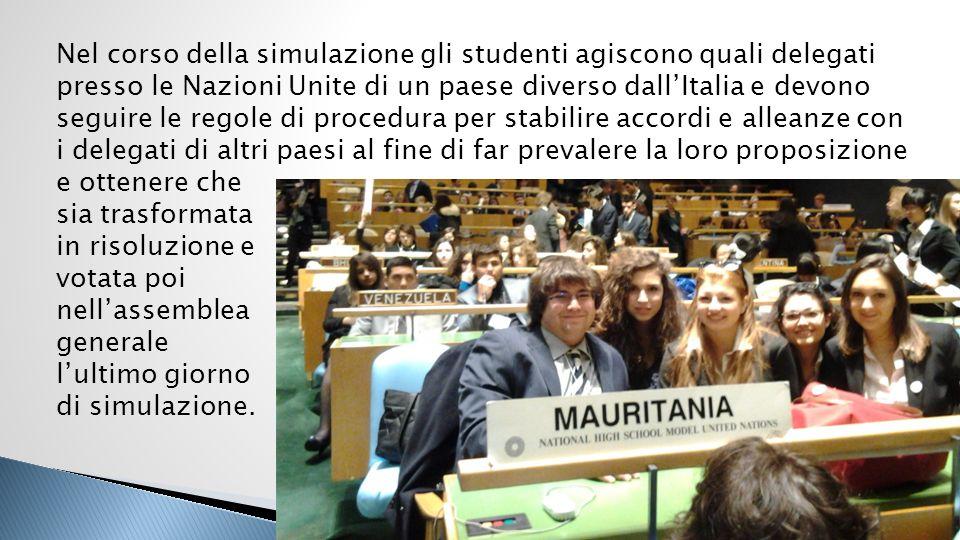 Nel corso della simulazione gli studenti agiscono quali delegati presso le Nazioni Unite di un paese diverso dallItalia e devono seguire le regole di
