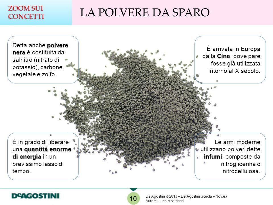 LA POLVERE DA SPARO ZOOM SUI CONCETTI polvere nera Detta anche polvere nera è costituita da salnitro (nitrato di potassio), carbone vegetale e zolfo.