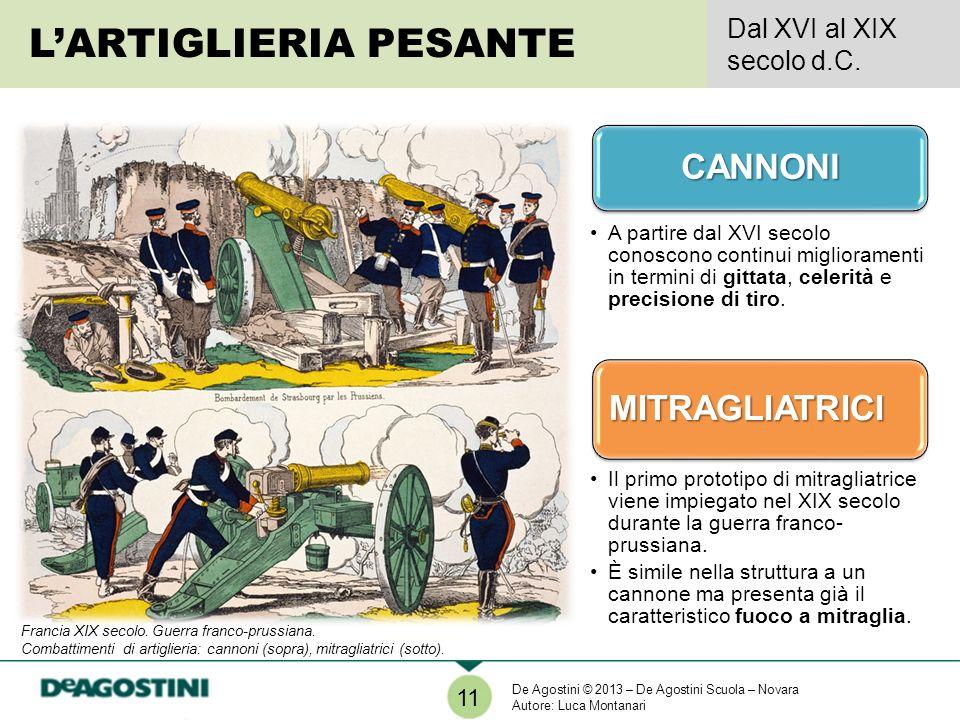 LARTIGLIERIA PESANTE Dal XVI al XIX secolo d.C.CANNONI A partire dal XVI secolo conoscono continui miglioramenti in termini di gittata, celerità e precisione di tiro.