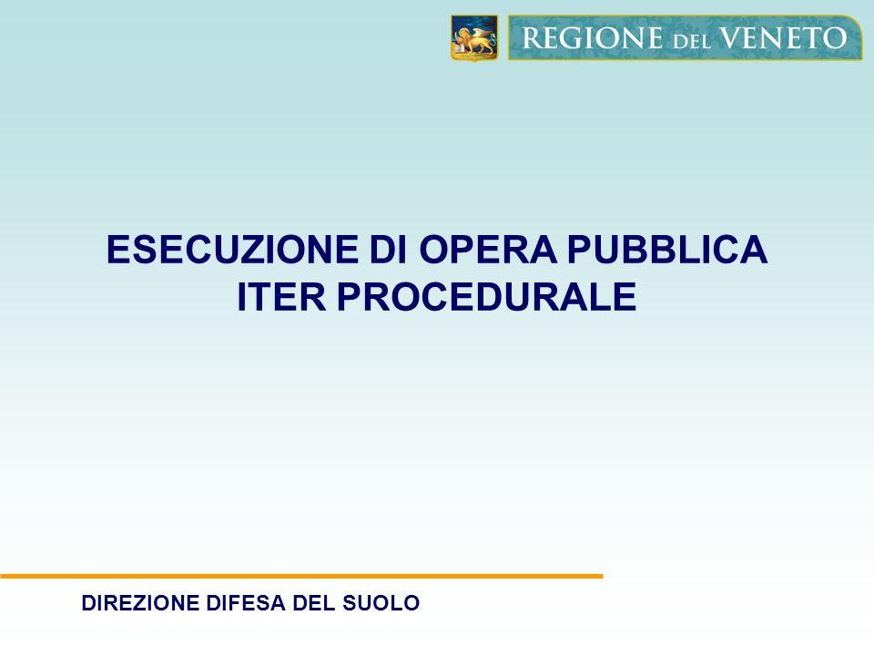 DIREZIONE DIFESA DEL SUOLO ESECUZIONE DI OPERA PUBBLICA ITER PROCEDURALE