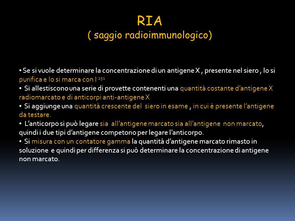 RIA ( saggio radioimmunologico) Se si vuole determinare la concentrazione di un antigene X, presente nel siero, lo si purifica e lo si marca con I 251
