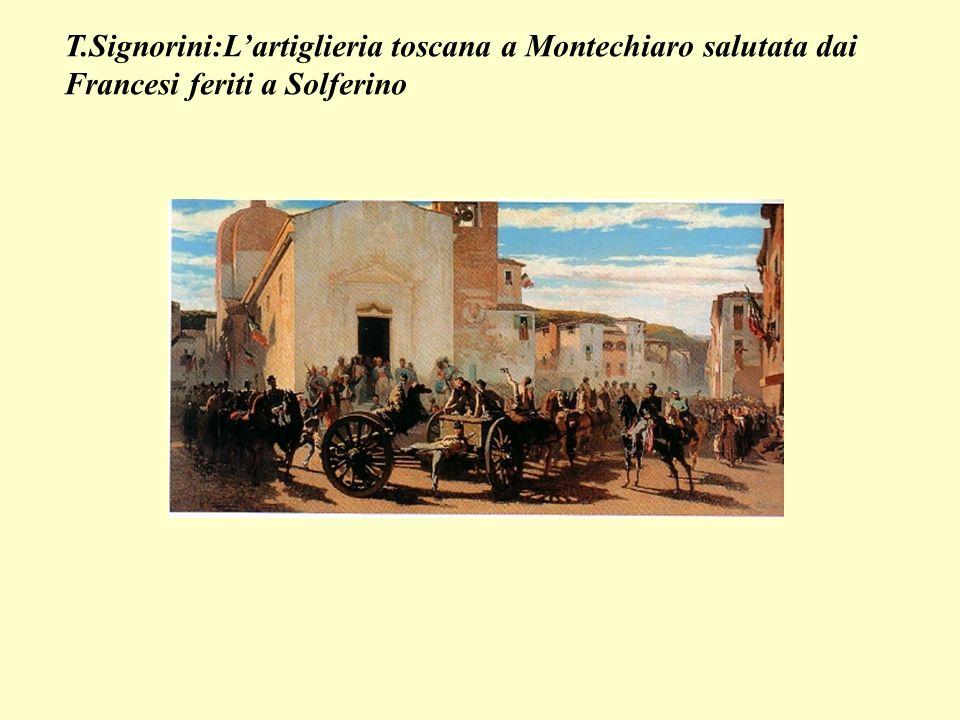 T.Signorini:Lartiglieria toscana a Montechiaro salutata dai Francesi feriti a Solferino