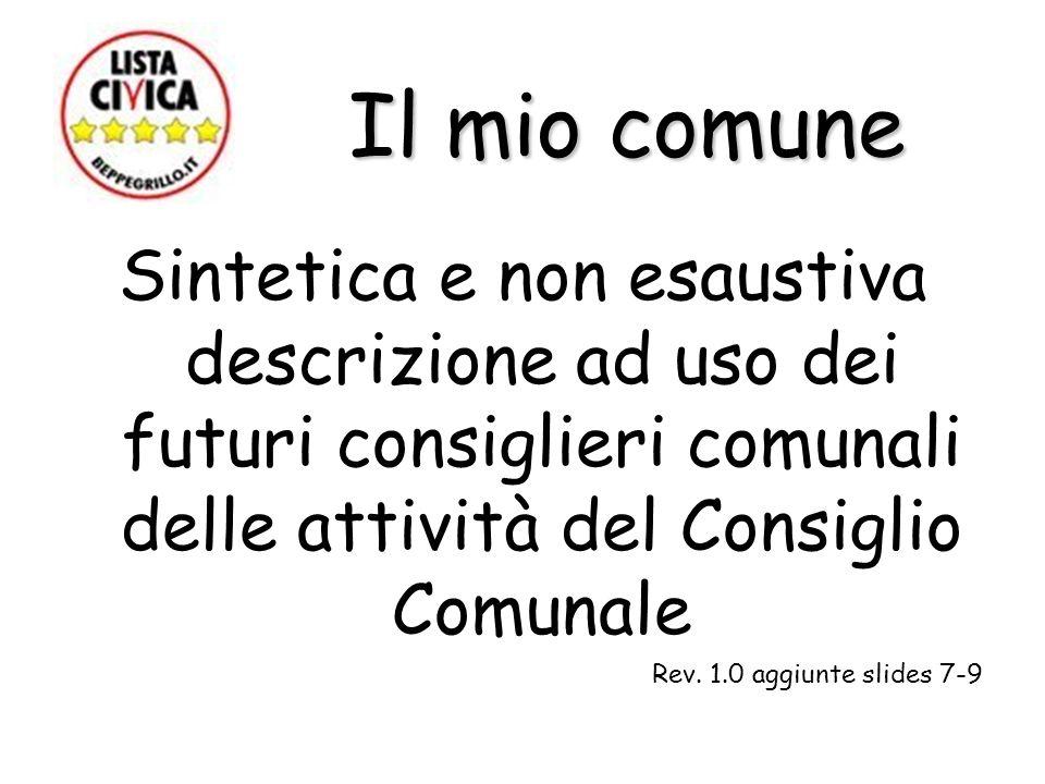 Il mio comune Il mio comune Sintetica e non esaustiva descrizione ad uso dei futuri consiglieri comunali delle attività del Consiglio Comunale Rev. 1.