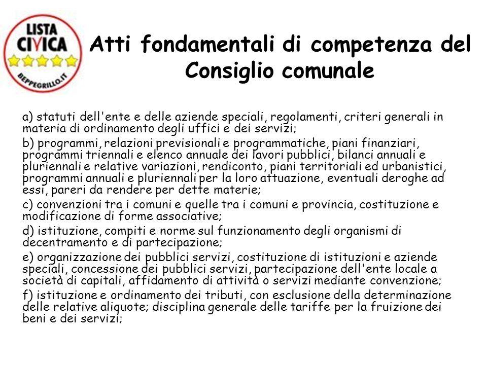 Atti fondamentali di competenza del Consiglio comunale a) statuti dell'ente e delle aziende speciali, regolamenti, criteri generali in materia di ordi