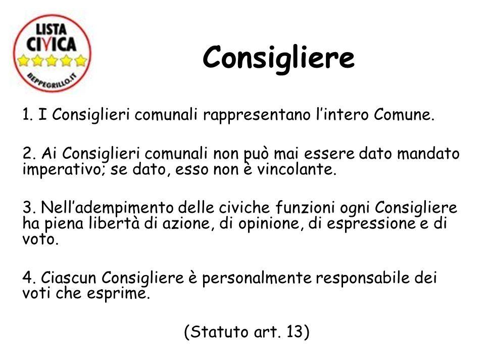 Consigliere 1. I Consiglieri comunali rappresentano lintero Comune. 2. Ai Consiglieri comunali non può mai essere dato mandato imperativo; se dato, es