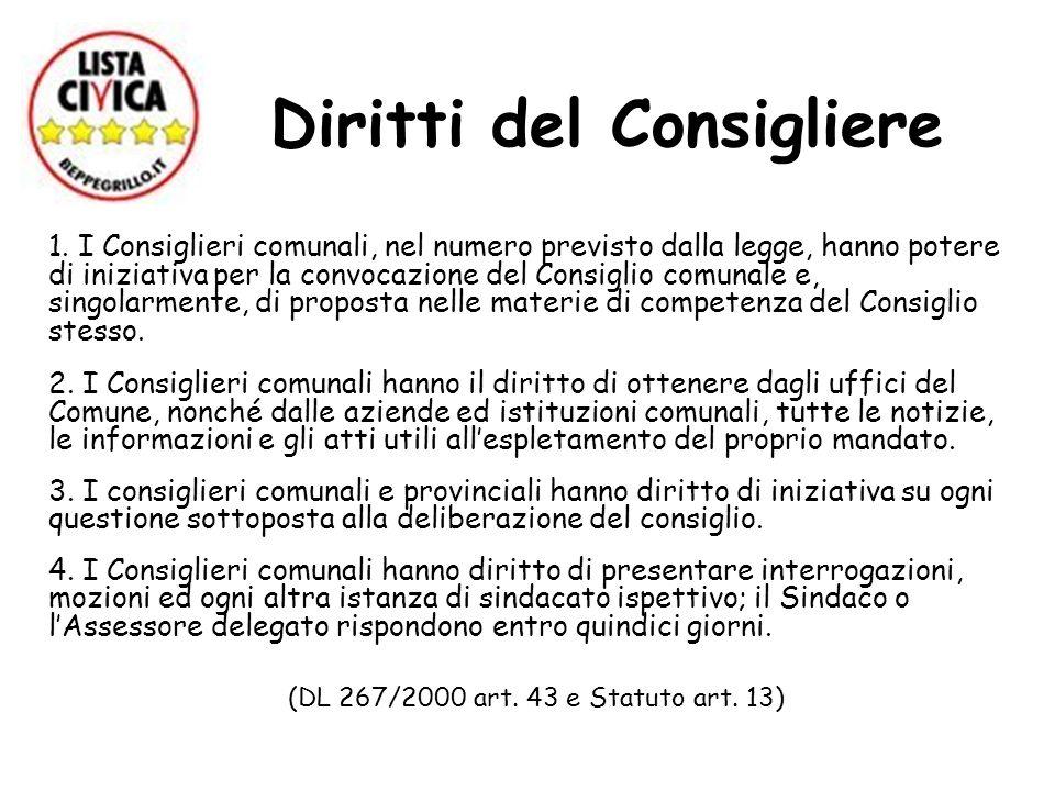 Diritti del Consigliere 1. I Consiglieri comunali, nel numero previsto dalla legge, hanno potere di iniziativa per la convocazione del Consiglio comun